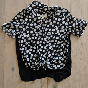 Anthropologie Polka Dot Front-Tie Shirt